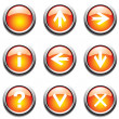 Stock Vector: Orange buttons with signs.