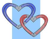 Zwei gebundene Herzen — Stockvektor