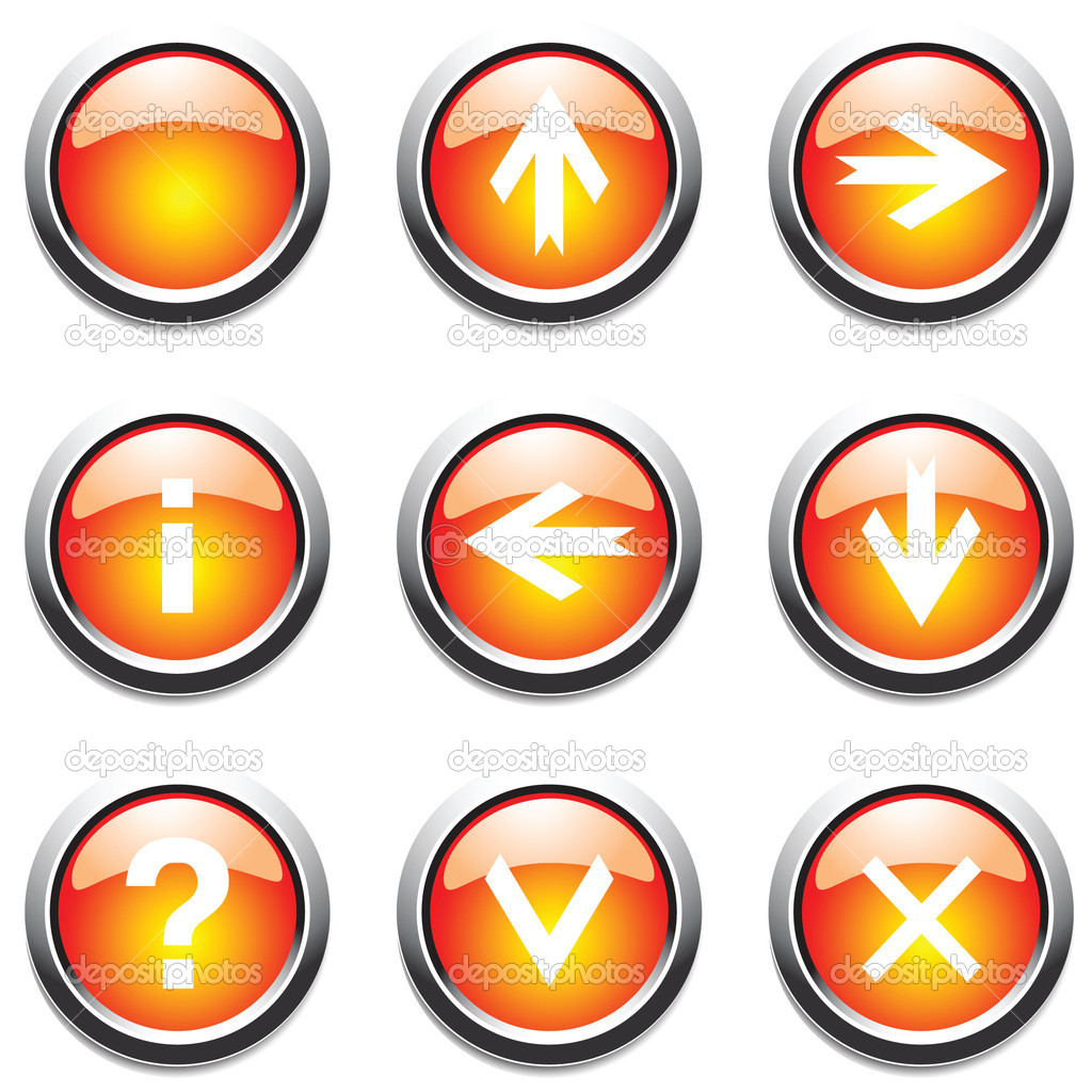 Orange buttons with signs. Vector. — 图库矢量图片 #1402889