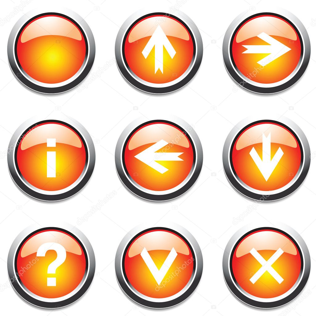 Orange buttons with signs. Vector. — Imagen vectorial #1402889