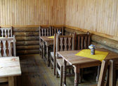 Small cafe in folk style. — Stock Photo