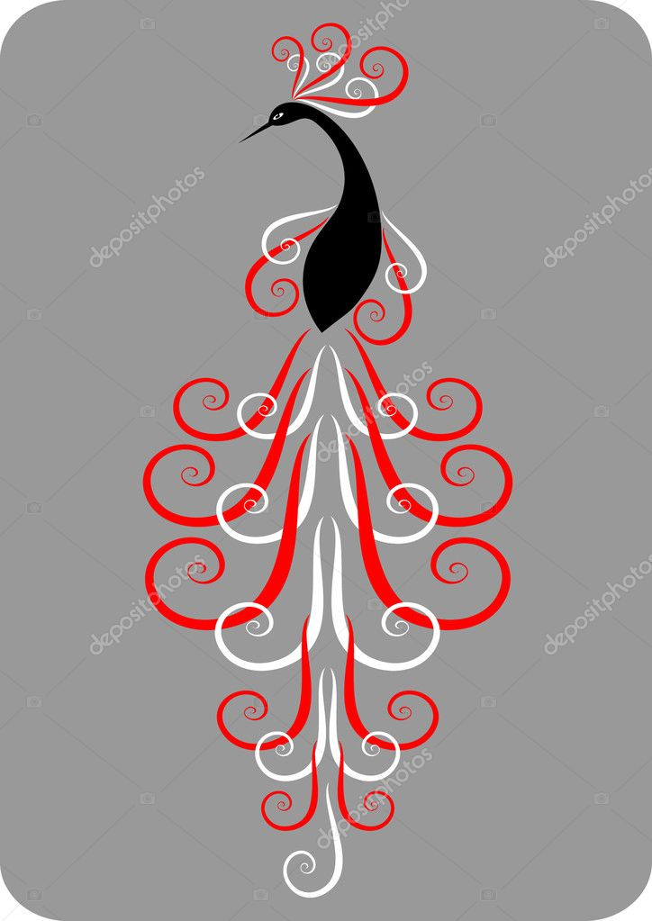 Decorative peacok. Vector illustration. — Stock Vector #1473503