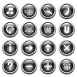 Vector black buttons with symbols. - Stock Vector