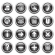 Vector black buttons with symbols. — Stock Vector