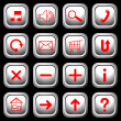 White square buttons with red symbols. — Stock Vector