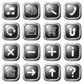 Black square buttons. — Stock Vector
