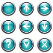 Turquoise buttons with signs. - Stock Vector