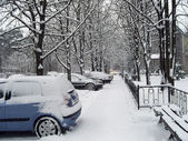 Urban scene after snowfall. — Stock Photo