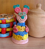 Child's ceramic handicrafts. Mouse. — Stock Photo