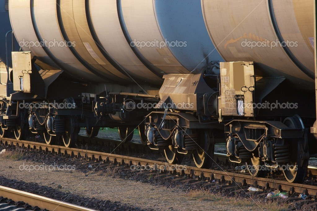 Wagons of an oil-transporting freight train  Stock Photo #2325126