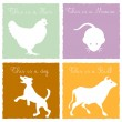 4 animals on colored background — Vettoriali Stock
