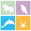 Stock Vector: 4 wild animals on colored background 4