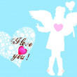 Stock Vector: Valentine card with girl and wings