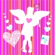 Stock Vector: Valentine girl wirh wings hearts bird