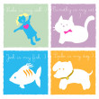 My doll cat dog and fish - Stock Vector
