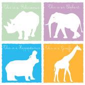 4 wild animals — Stock Vector