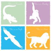 4 animali selvatici su sfondo colorato — Vettoriale Stock