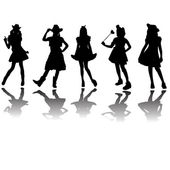 Cute girls silhouettes wearing costumes — Stock Vector