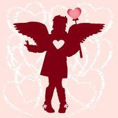 Kız siluet kalpleri ve kanatlar — Stok Vektör
