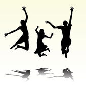 Happy summery kids jumping — Stockvector