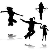 Happy women and kids jumping — Stock Vector