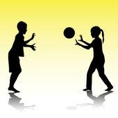 ボールで遊ぶ子供たち — ストックベクタ