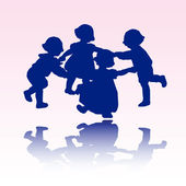 Little children silhouettes — Stock Vector
