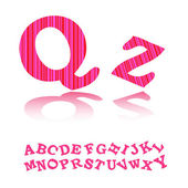 Pink with stripes alphabet — Stock Vector