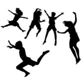 Spring-summer happy kids jumping — Stockvector