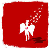 Valentine angel singing — Stockvector
