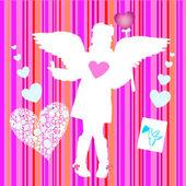 Valentine girl wirh wings hearts bird — Stock Vector