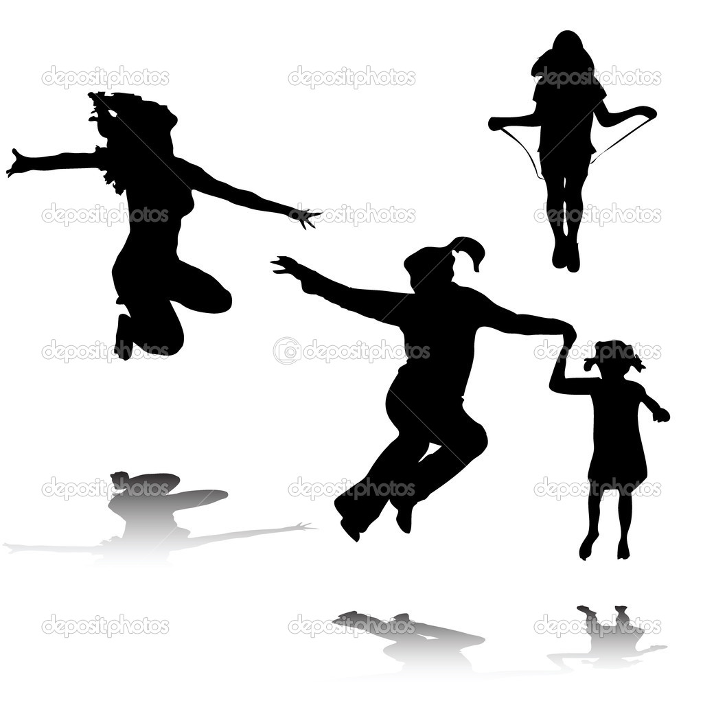 Happy woman and kids silhouettes jumping  Stock Vector #2169032