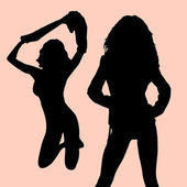2 beautiful women silhouettes — Stockvector