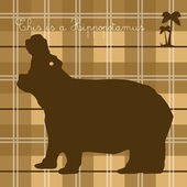 Hippopotamus on cappuccino background — Stockvector