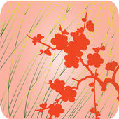 Red flowers on pink and green background — Stockvektor
