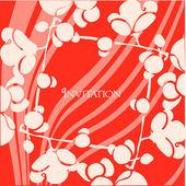 Våren inbjudningskort på röd — Stockvektor