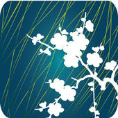 White flowers on blue — Stockvector