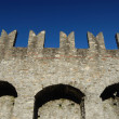 Medieval castle battlement - Stock Photo