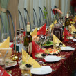The table covered by a holiday — Foto de Stock