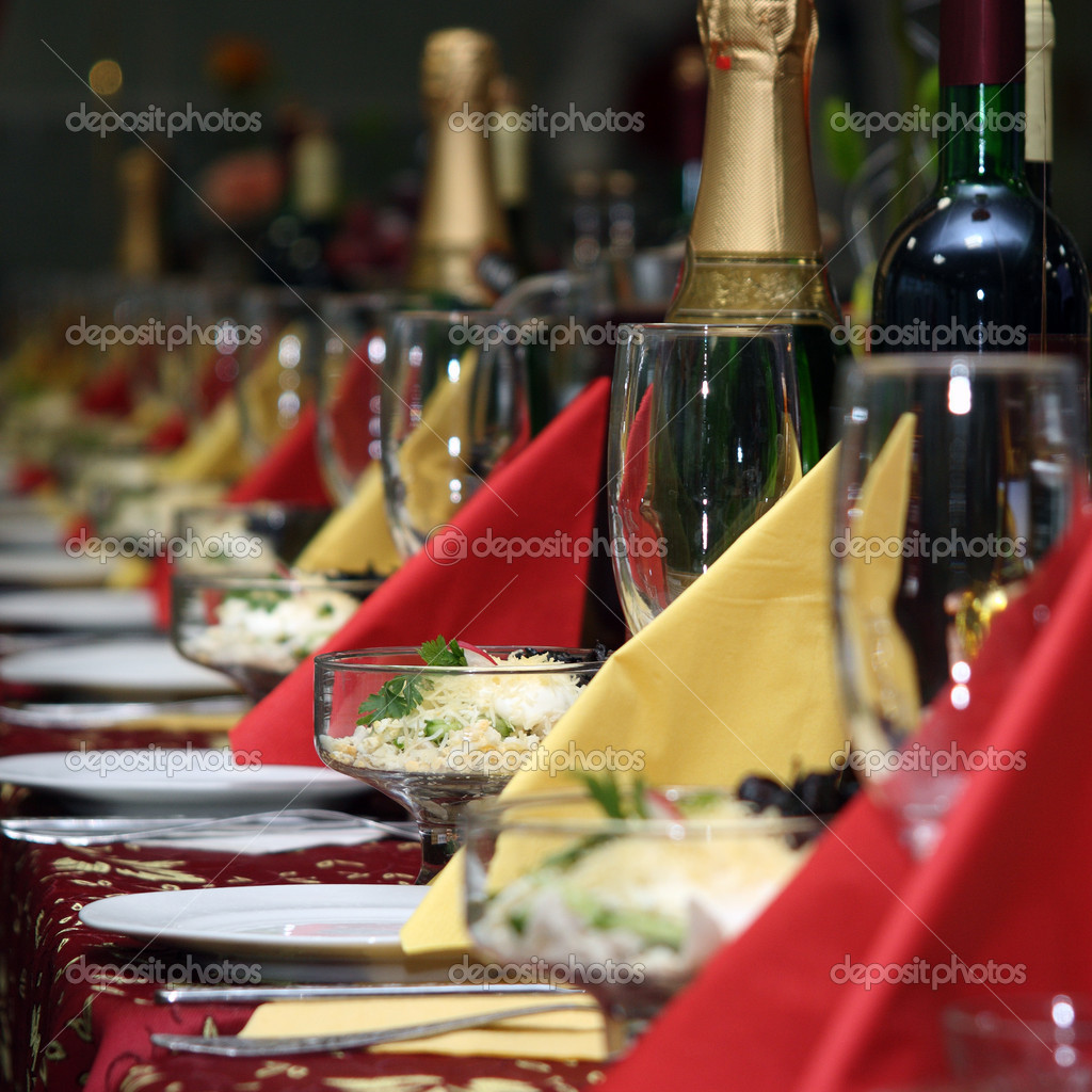 The table covered by a holiday with drinks  Stock Photo #2242122