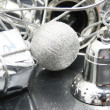 Royalty-Free Stock Photo: Silver gift, ball and bell - composition