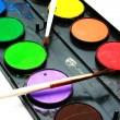 Water-colors,paintbrush on white backgro — Stock Photo