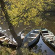 Boats in water of the river — Stock Photo