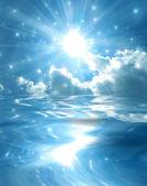 Sparkling star over blue lake — Stock Photo