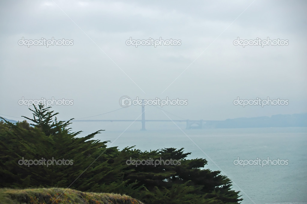 The Golden Gate Bridge through the fog from Rodeo Beach, California — Stock Photo #1346031