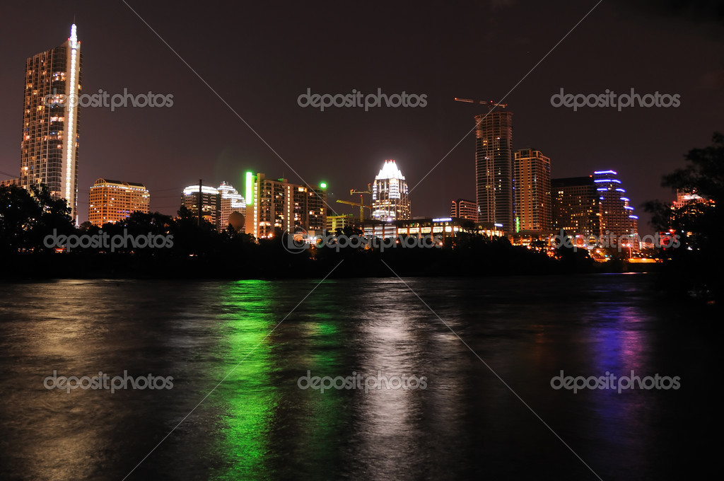 The downtown Austin, Texas skyline at night — Stock Photo #1348608