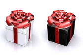 Beautiful box with a gift with a bow — Stock Photo