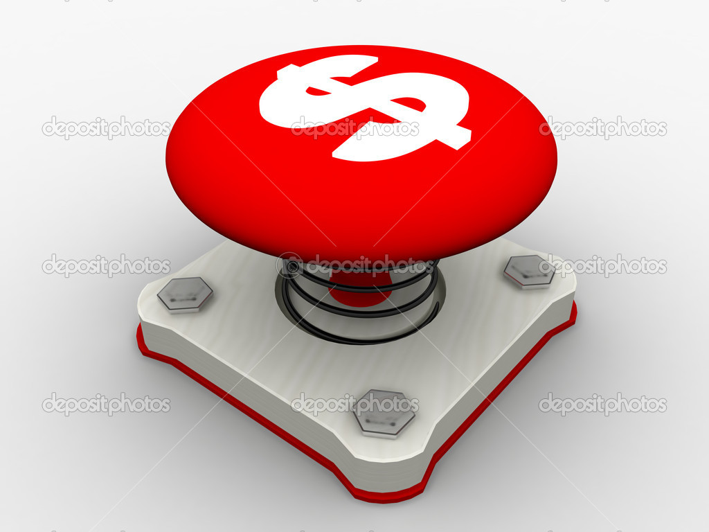 Red start button on a metal platform — Stock Photo #1344655