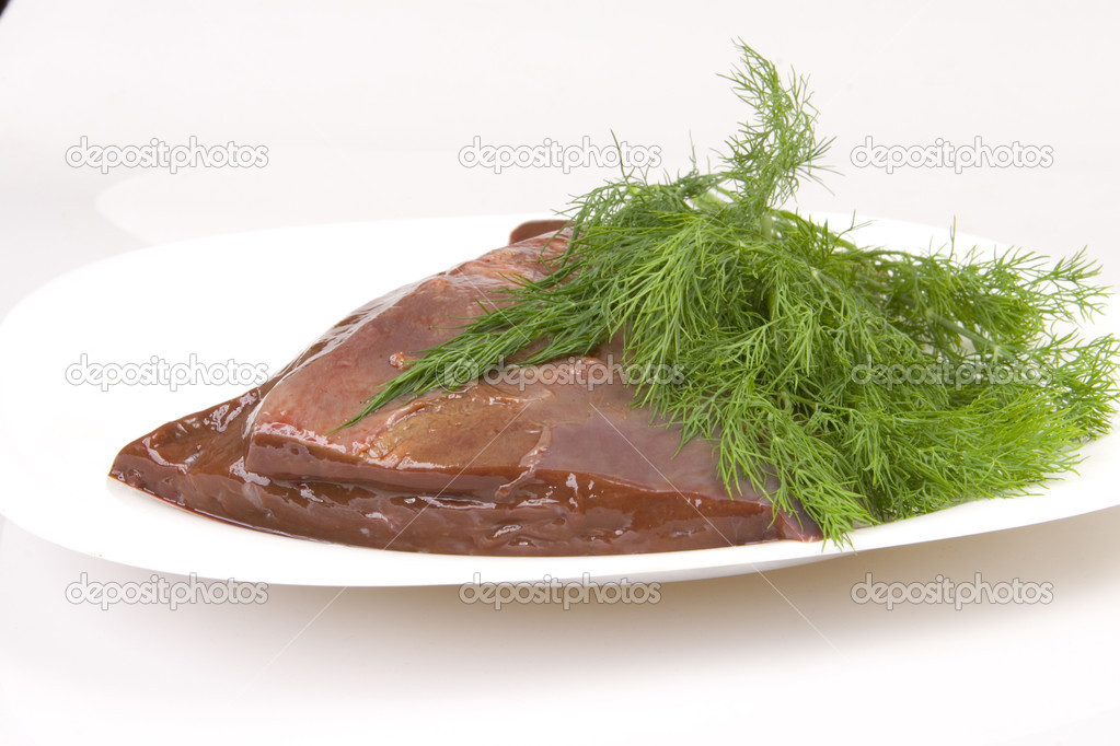 Beef liver with dill on white plate — Stock Photo #1707349
