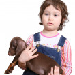 Royalty-Free Stock Photo: Little girl with dachshund puppy